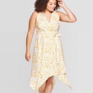 Ava & Viv Floral Yellow Sleeveless Dress-4X